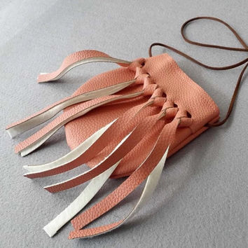 Faux Leather Handmade Tassel Purses in Pink or Gold