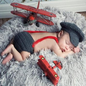 Knitted Newborn Bow Tie, Pants & Hat Set