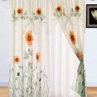 Chezmoi Collection 2-Panel of White/Green/Yellow 3D Sunflower Window Curtain/Drapes with Attached Valance and Sheer