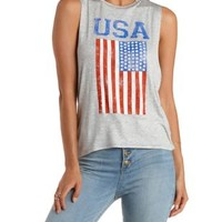 Heather Gray USA Drinking Team Graphic Muscle Tee by Charlotte Russe