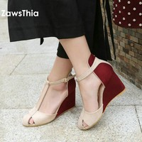 ZawsThia 2018 summer patchwork high heel platform shoes for woman T-strap buckle cover toe wedges sandals women chaussures femme