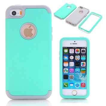 3-in-1 Impact Hard & Soft Silicone Hybrid Case for Apple iPhone 5/5S/5C/SE Armor Phone Cases w/Screen Protector Film+Stylus Pen