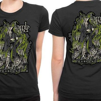 ICIK7H3 Lamb Of God Congregation Warbeast Illustrations 2 Sided Womens T Shirt