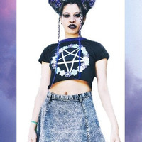 "Black Crop top Witch pastel Glitter ""Flower Pentagram"" Pentacle Cyber Goth grunge Seapunk Rave 90 's pagan boho gypsy 666"