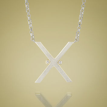 Give.Love Pendant Necklace - X with .03 cttw Diamonds