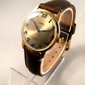 "Vintage men's  wristwatch ""Seagull"" (""Chaika""). Classic gold dial men's watch, round face watch.Gift for him"