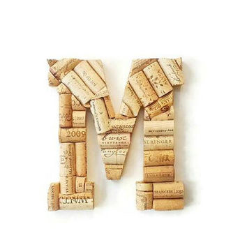 Wine cork letter M | Monogram letters | Wine cork crafts | decorative letters | wine cork letters | cork holder