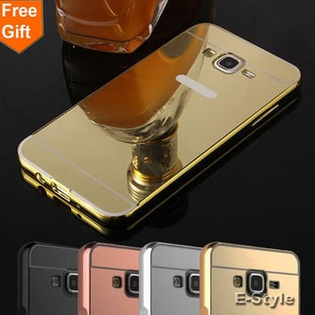 Mirror phone cases For Samsung Galaxy Grand Prime G530 G531 Case G530H G5308W Golden plated Aluminum Frame + Acrylic Back Cover