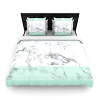 "KESS Original ""Mint Marble Fade"" White Green Woven Duvet Cover"
