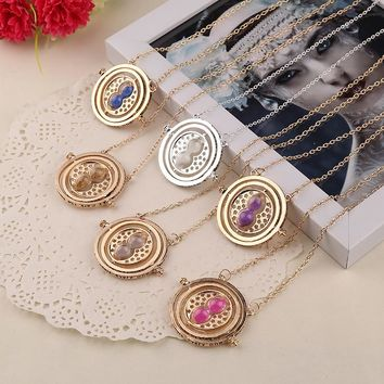 free shipping 12pcs/ lot New Fashion Punk Hermione Granger Rotating Spins Gold Hourglass Time Turner Necklace