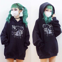 Women's Harajuku Loose Style Black Hooded Sweatshirt Japanese