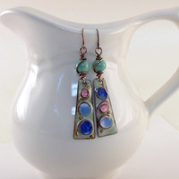 Earrings Aqua, Blues and Pink Pastel Pools of Color Melody With Antique Copper