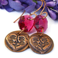 Copper Hearts and Faces Handmade Earrings, Fuchsia Swarovski Spirals Artisan Dangle Jewelry