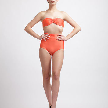 Skin-tone Complimenting Spicy Paprika Tricot High Waisted Vintage Pinup Style Perfect Fit Bikini Top and Bottom Set