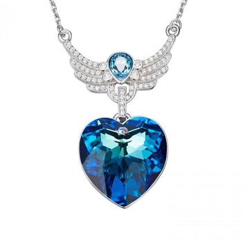 Silverbene Fashion Blue Austrian Crystal 925 Sterling Silver Angel Wing Necklace