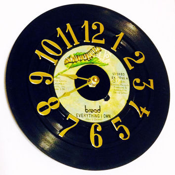 Record Clock, Vinyl Record Clock, Wall Clock, Bread Record, Recycled Record, Upcycle, Battery & Wall Hanger included, Item #4