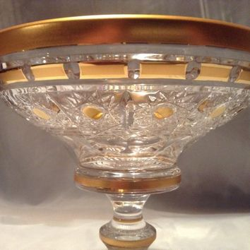 Czech bohemia crystal glass - Cut bowl 15cm decorated double gold