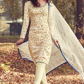 Off White Printed Tussar Silk Straight Cut Suit
