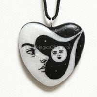 Moon and sun heart necklace, original painting on heart shaped stone realized as a unique black and gray pendant, romantic gift for her