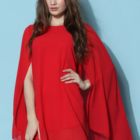 Sprite Valley Chiffon Cape Dress in Red  Red