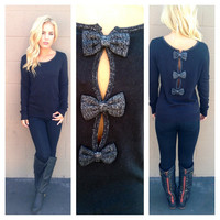 Black Bow Back Sweater