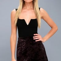 Urban Allure Dark Purple Crushed Velvet Mini Skirt