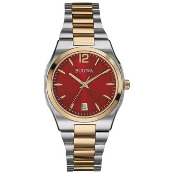 Bulova 98M119 Men's Dress Red Dial Two Tone Rose Gold Stainless Steel Bracelet Watch