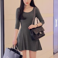 Flounced Long Sleeve Dress