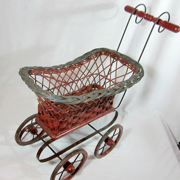 Wicker Doll Carriage Vintage Baby Buggy Retro Baby Shower Gift Room Decor Props