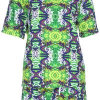 ROMWE Geometrical & Flower Print Green Short-sleeves Two Pieces