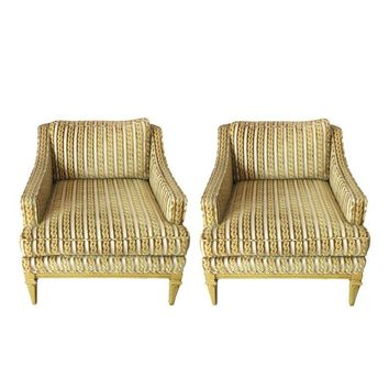 Pre-owned Vintage Diskin Art Gold Club Chairs - A Pair