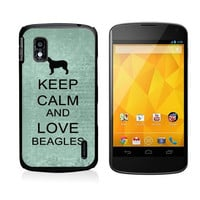 Keep Calm And Love Beagles Teal Floral Google Nexus 4 Case - For Nexus 4