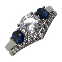 Simulated Blue Sapphire Wedding Engagement Ring Set