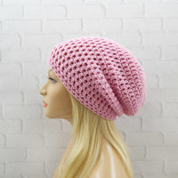 Pink Slouch Hat, Vegan Beanie Hat, Oversized Hat, Womens Beanie, Crochet Pink Hat, Slouchy Winter Hat, Baggy Hat, Slouchy Beanie