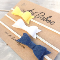 Navy Blue Felt Bow Headband Set, Yellow Felt Bow Headband, White Felt Bow Headband, Felt Bow headband set, Felt Bow Headbands