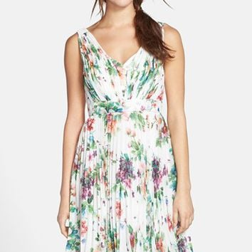 Women's Donna Morgan 'Greta' Garden Floral Print Pleated Dress