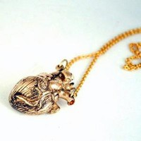 Supermarket - heart necklace - antique bronze from Lillian Crowe made in New York City