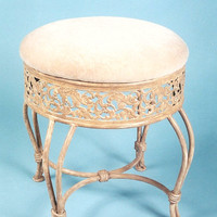 Beige Opulent Metal Vanity Chair