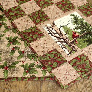 Winter Table Runner, Quilted Table Runner, Cardinal Table Topper, Holly Berries, Patchwork Table Runner