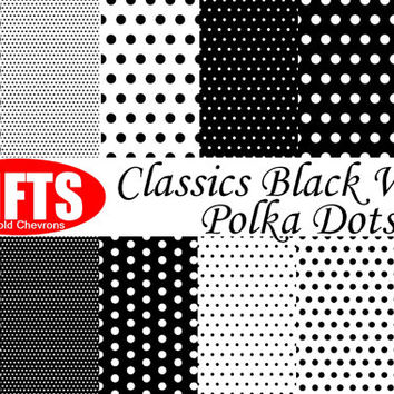 Classic Black and White Polka Dots Digital Paper dot scrapbook printable polkas invitation Clip Art Party Craft Supplies vector graphics DIY
