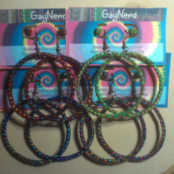 Handmade Hypoallergenic Plastic Lanyard Tie Dye Hoop Earrings with matching studs