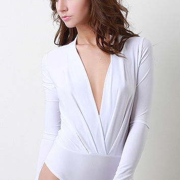 Deep V Long Sleeve Bodysuit