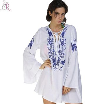 White  Lace Up Embroidery Floral Mini Long Bell Sleeve Shift Dress Loose Casual Beach Cover Up Summer Women