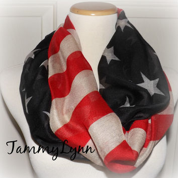 Vintage American Flag Infinity Scarf USA Soft and Large Patriotic Scarf July 4th Scarf