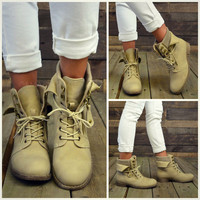 Sergeant Sassy Khaki Sweater Ankle Fold Over Boots