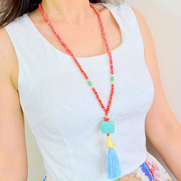 LONG TASSLE NECKLACE, Rosary necklace, authantick necklace, tassle necklace, gypsy necklace, tribial necklace, beaded necklace, handmade