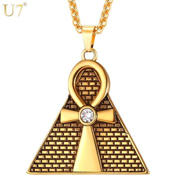 U7 Ancient Pyramid Ankh Egyptian Cross Pendant & Chain Necklace Men/Women Stainless Steel Rhinestone Necklaces Jewelry P1097