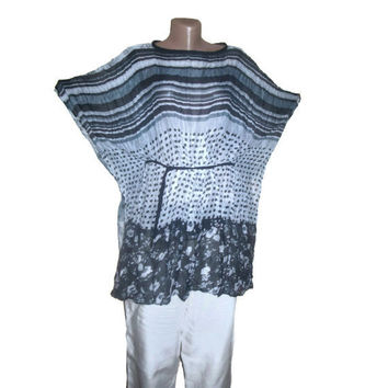Boho Tunic, Cotton Tunic, Plus Size Clothing, Maternity Clothing, Black Grey White, Belted Tunic, Oversized Clothing, OOAK