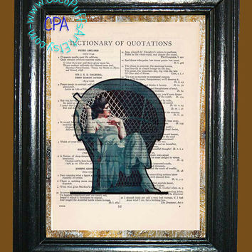 Blue Wicker Chair Lady Illusion Blended Art-- Vintage Dictionary Book Page Art-Upcycled Page Art,Wall Art,Mixed Media Art