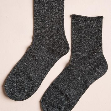 BLACK AND SILVER GLITTER SOCKS